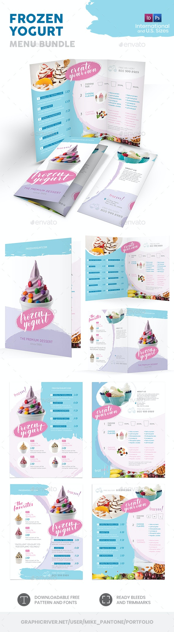 Frozen Yogurt Menu Print Bundle - Food Menus Print Templates