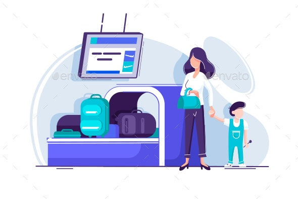 Young Woman with Child Waiting for Baggage - Man-made Objects Objects