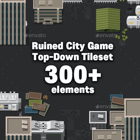 Ruined City Big Game Top Down Town Tileset