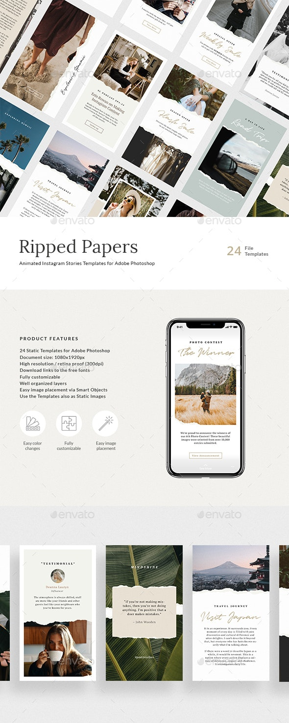 Ripped Papers — Animated Instagram Story Templates - Social Media Web Elements