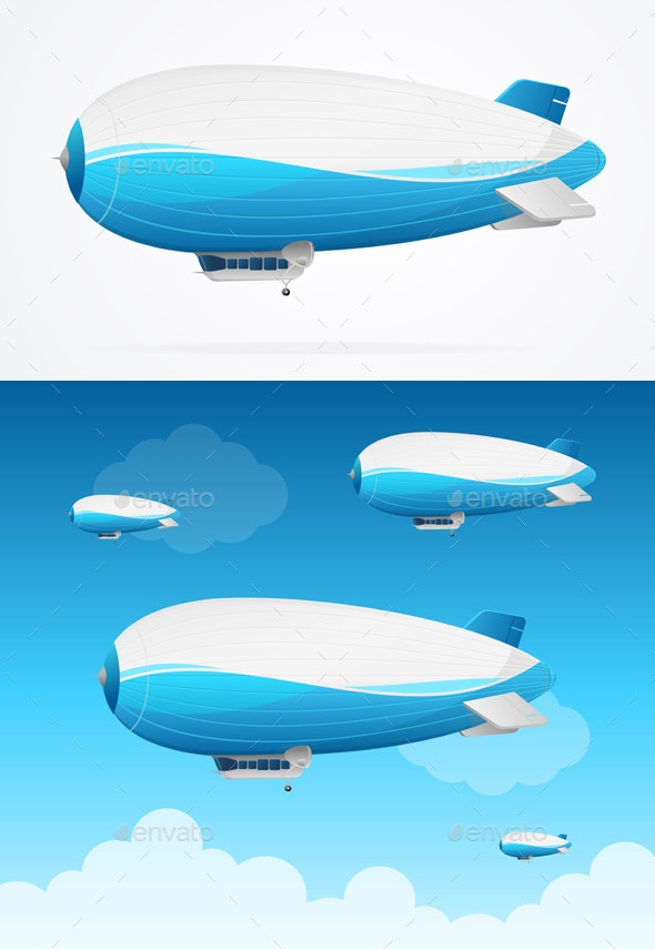 Realistic Detailed Dirigible Fly Card - Travel Conceptual