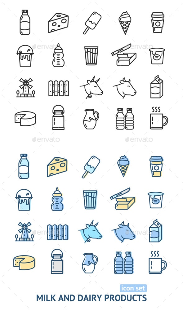 Milk Dairy Products Signs Color Thin Line Icon Set - Miscellaneous Vectors