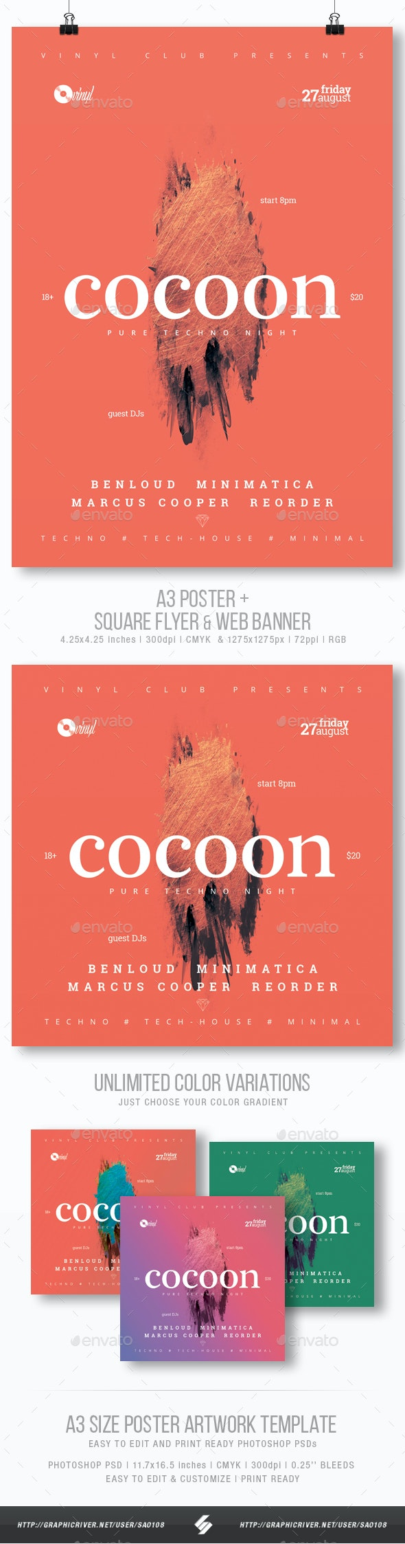 Cocoon - Minimal Party Flyer / Poster Template A3 - Clubs & Parties Events