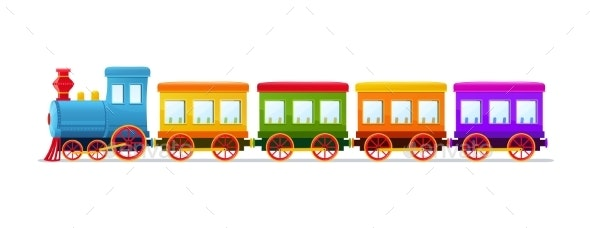Cartoon Toy Train with Color Wagons - Man-made Objects Objects