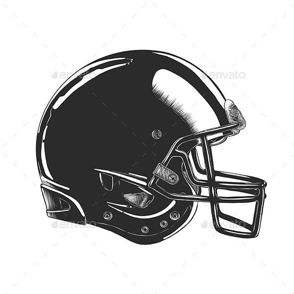 Football Helmet In Monochrome - Sports/Activity Conceptual