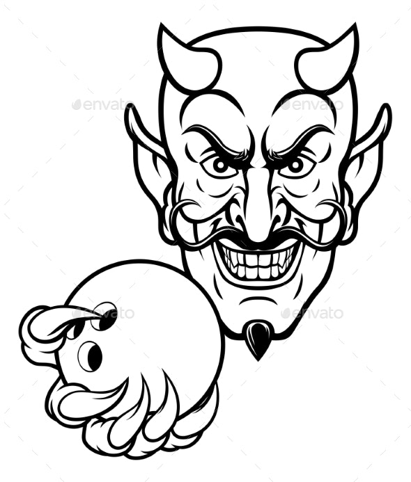 Devil Bowling Sports Mascot - Sports/Activity Conceptual