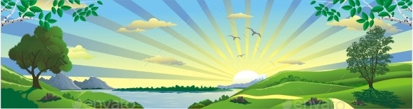Panorama of Nature - the Rising of the Sun - Landscapes Nature