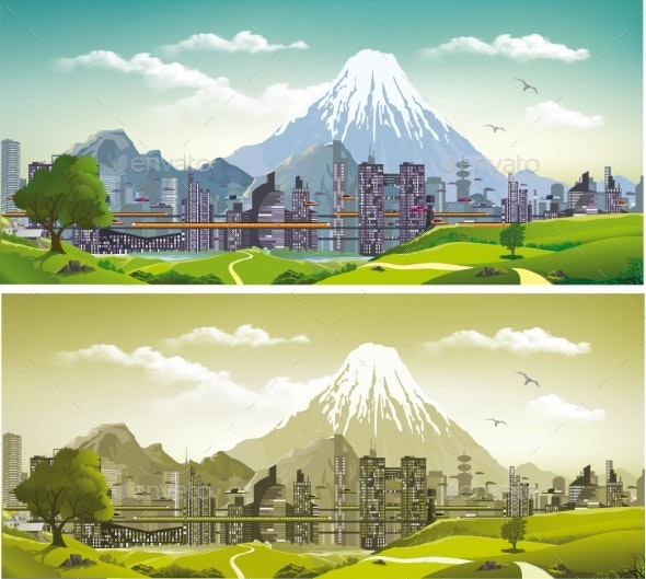 The Metropolis on the Background of Mountains - Buildings Objects