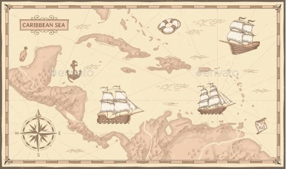Old Caribbean Sea Map by tartila | GraphicRiver