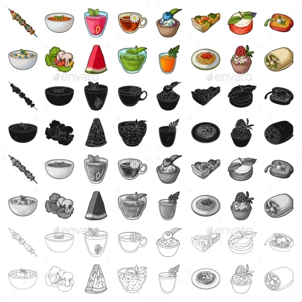 Vegetarian Dish Cartoon Icons in Set Collection - Food Objects