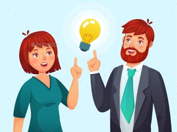 Couple Having Idea - People Characters