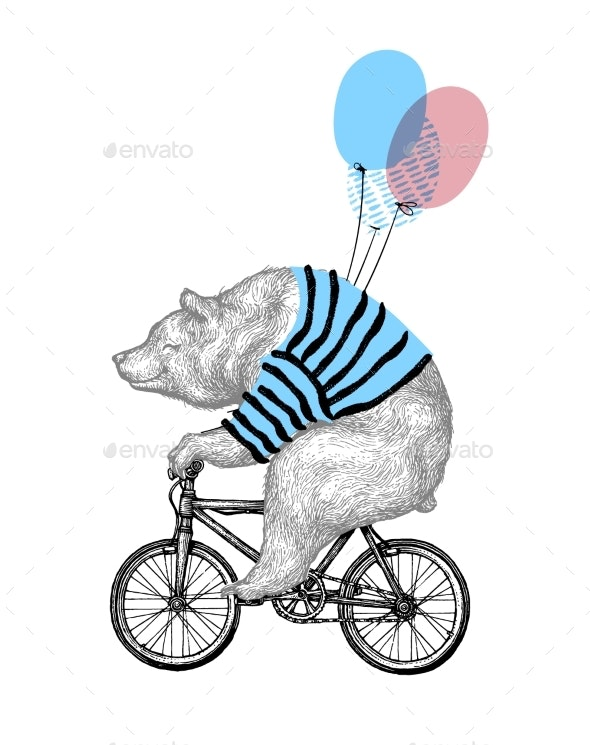 Bear Ride Bicycle with Balloon - Animals Characters
