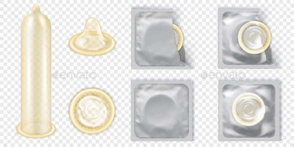Realistic Detailed Latex Condom Vector Set - Man-made Objects Objects