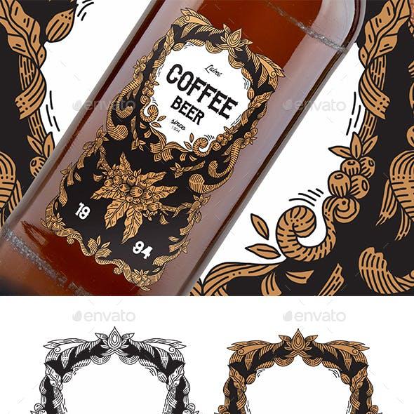 Label Hand Drawn Coffee Elements Vintage