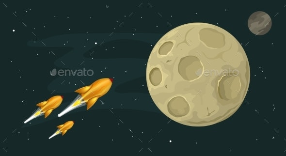 Rockets Flying to the Moon - Travel Conceptual