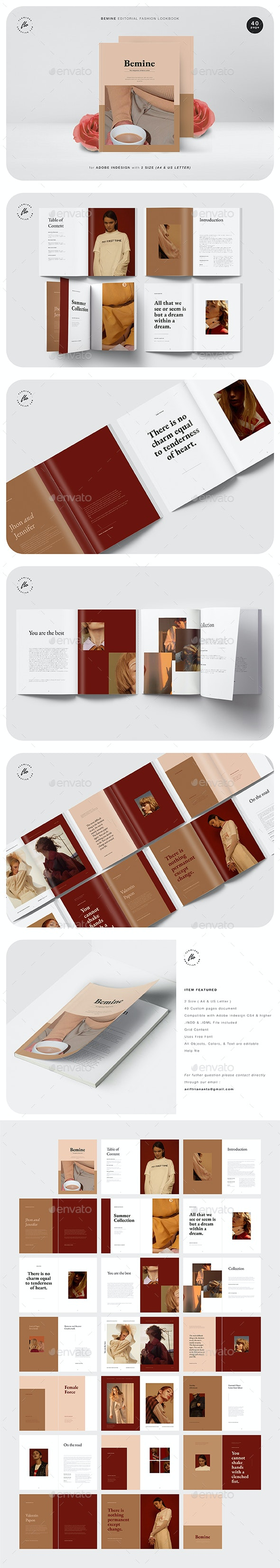 Bemine Editorial Fashion Lookbook - Magazines Print Templates