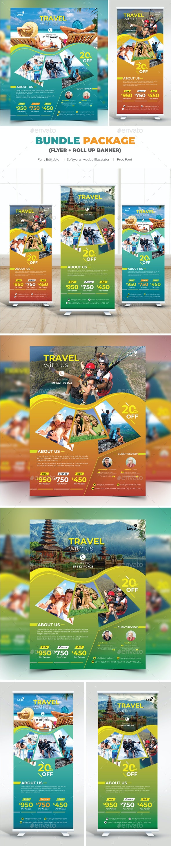 Bundle Travel (Flyer+Roll Up Banner) - Flyers Print Templates