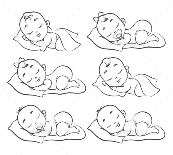 Newborn Baby Sketch - People Characters