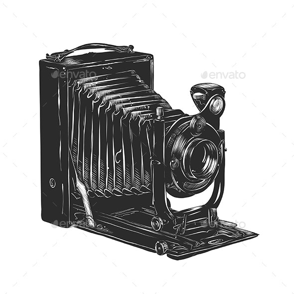 Vintage Camera in Monochrome Isolated - Man-made Objects Objects