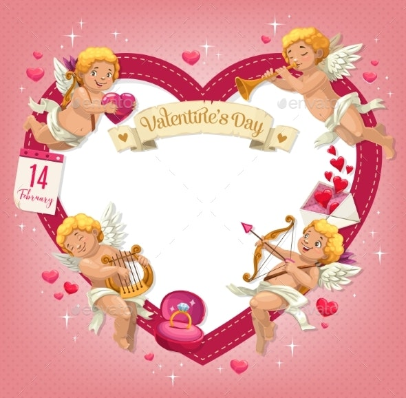 Valentines Day Heart with Cupids - Valentines Seasons/Holidays