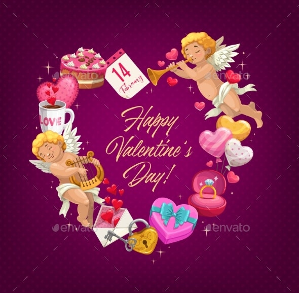 Valentine Day Love Heart with Gifts - Valentines Seasons/Holidays