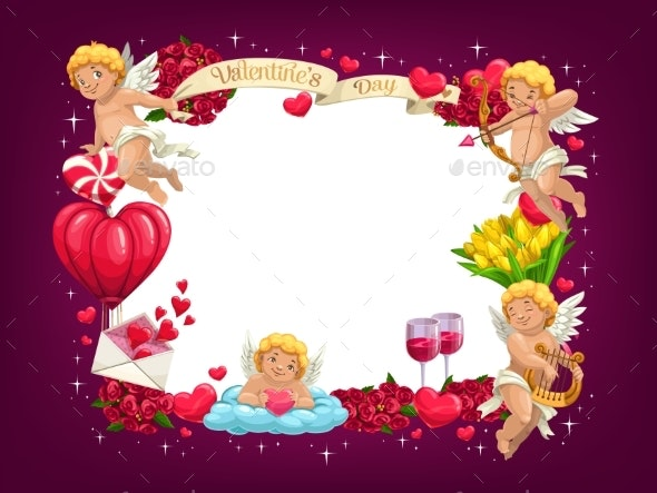Valentines Day Love Hearts and Flying Cupids Frame - Valentines Seasons/Holidays