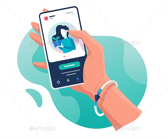 Flat Isolated Hand with Phone with Contacts Woman - Communications Technology