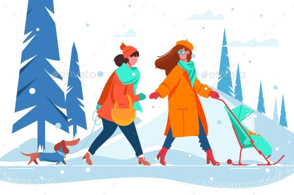 Women with Dog and Stroller - People Characters