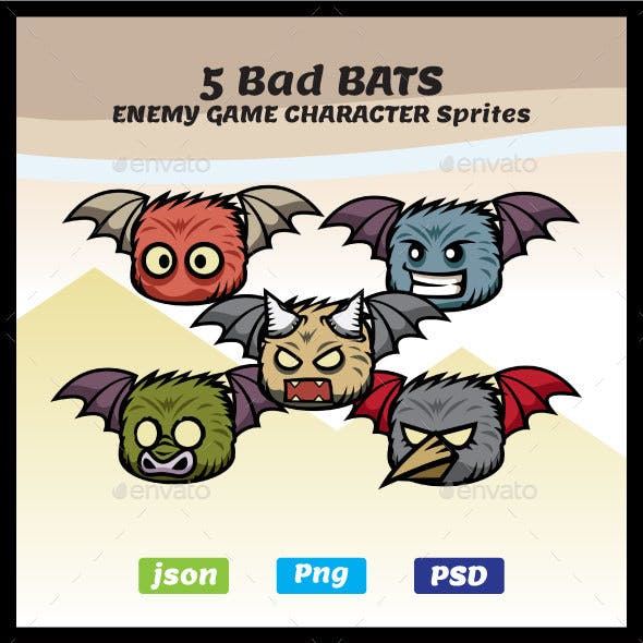 5 Bad Bats Sprites | Enemy Game Character