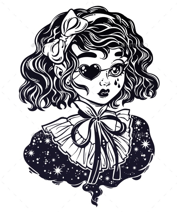 Gothic Victorian Girl Head Portrait with Eye Patch - People Characters