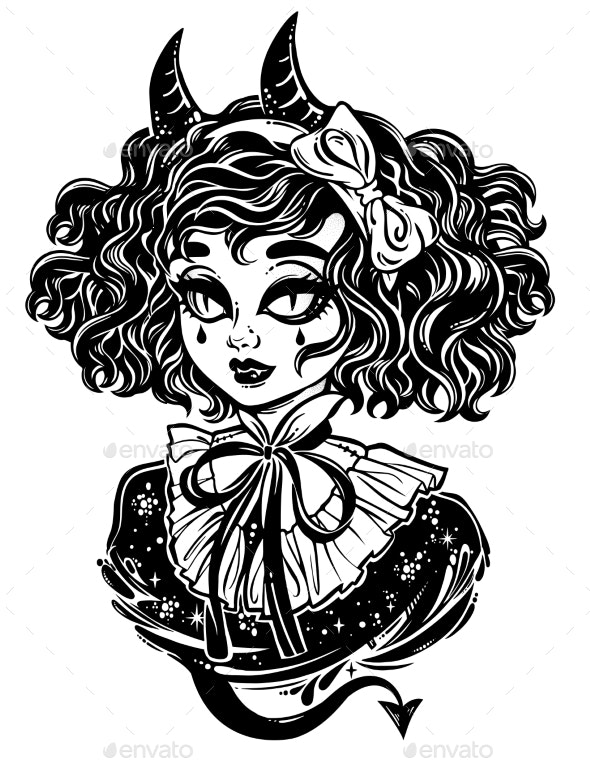 Gothic Victorian Demonic Girl Head Portrait - People Characters