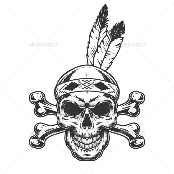Native American Skull - Miscellaneous Vectors