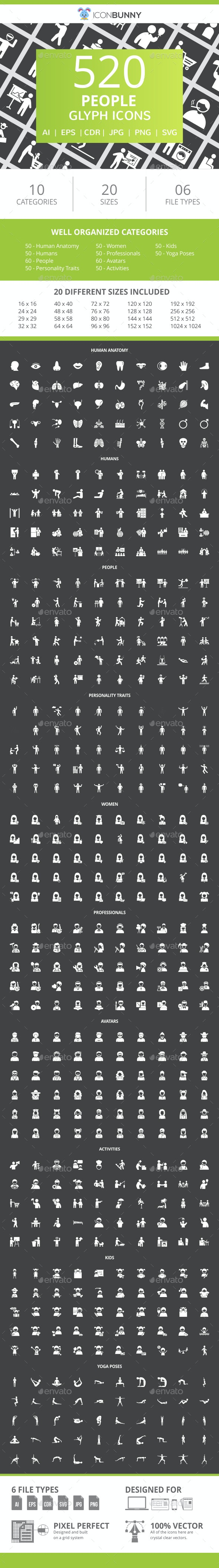 520 People Glyph Inverted Icons - Icons