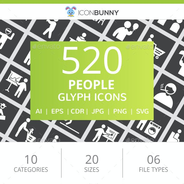 520 People Glyph Inverted Icons