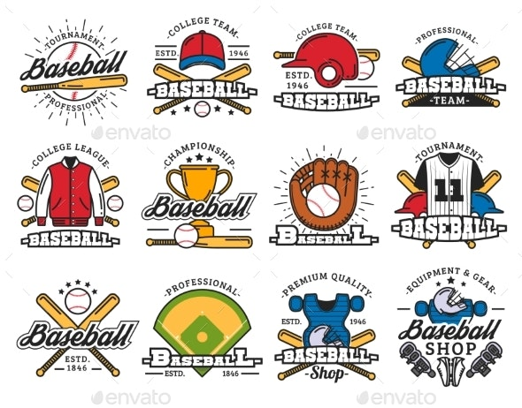 Baseball Sport Game Isolated Icons and Items - Sports/Activity Conceptual