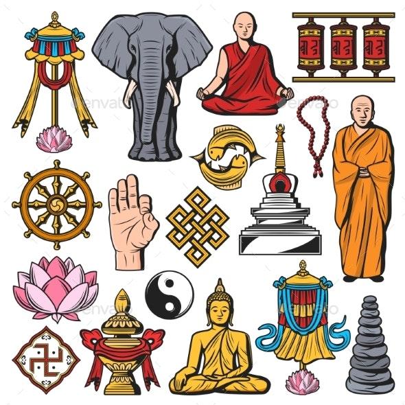 Buddhism Religion Vector Isolated Symbols - Religion Conceptual