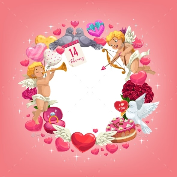 Valentines Day Love Holiday Hearts and Gifts Frame - Valentines Seasons/Holidays