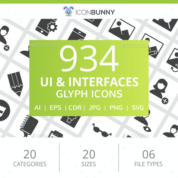 934 UI & Interfaces Glyph Inverted Icons