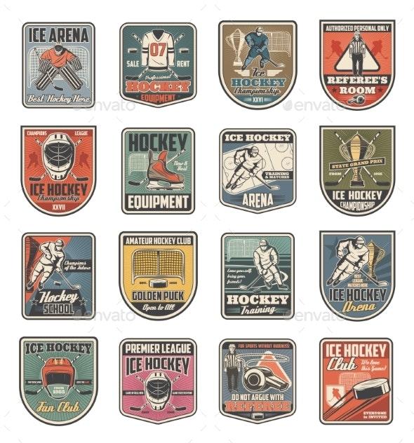 Ice Hockey Sport Icons - Sports/Activity Conceptual