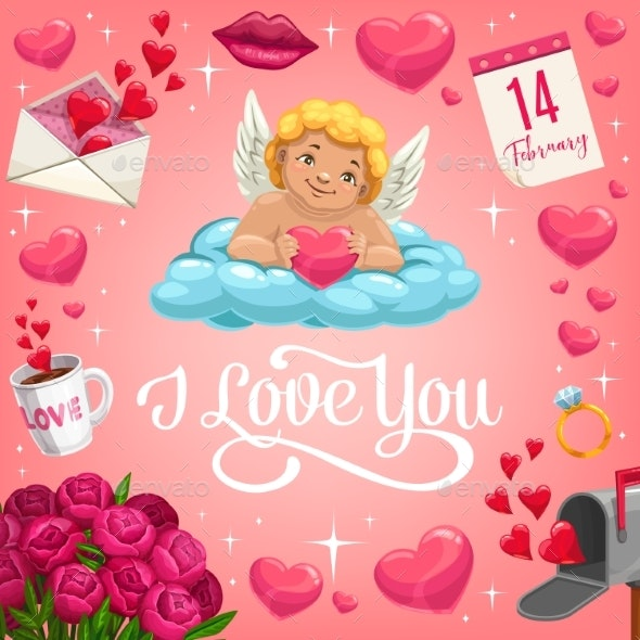 Cupid with Heart on Cloud - Valentines Seasons/Holidays