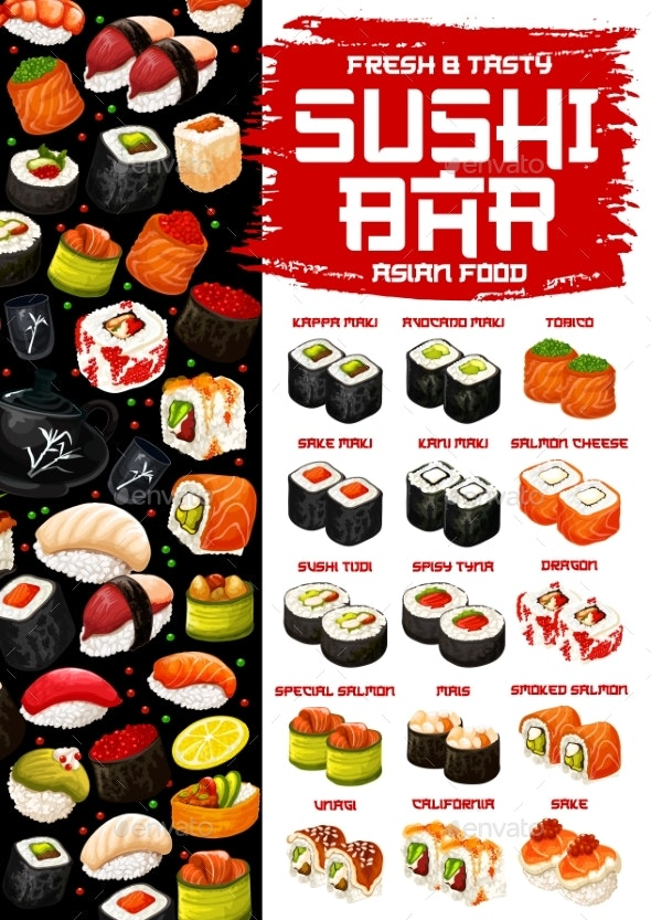 Japanese Cuisine Menu Sushi and Rolls - Food Objects