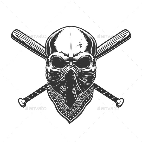 Vintage Skull in Bandanna - Miscellaneous Vectors