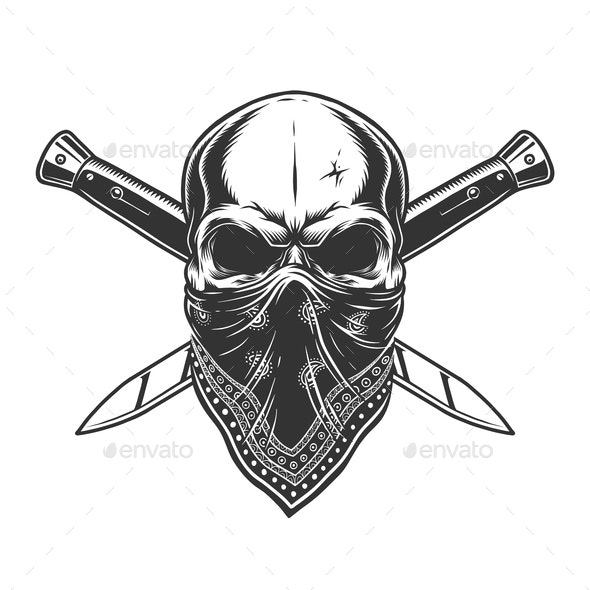 Bandit Skull with Bandanna - Miscellaneous Vectors