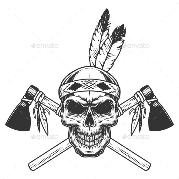 Vintage Monochrome Warrior Skull - Miscellaneous Vectors