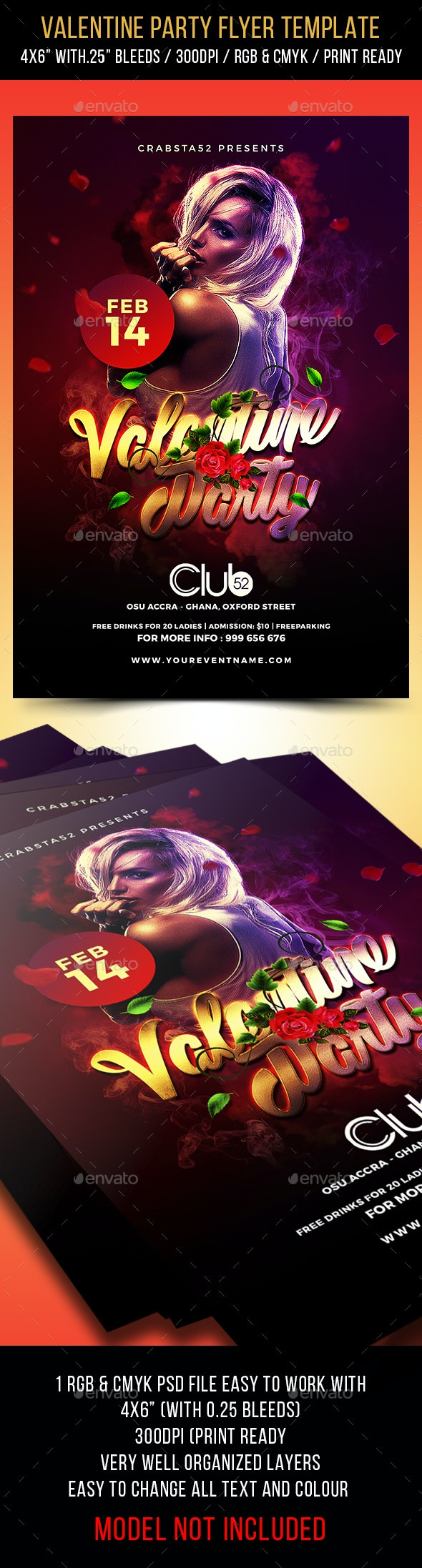 Valentine Party Flyer Template 3 - Events Flyers