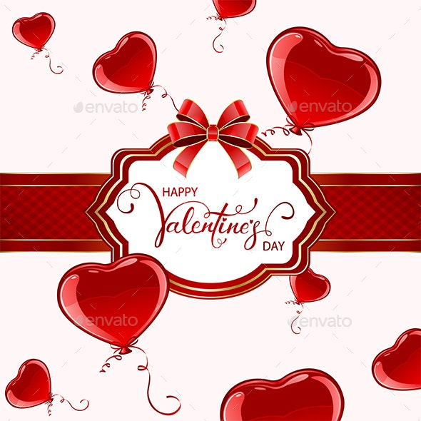 Valentines Card with Red Balloons - Valentines Seasons/Holidays