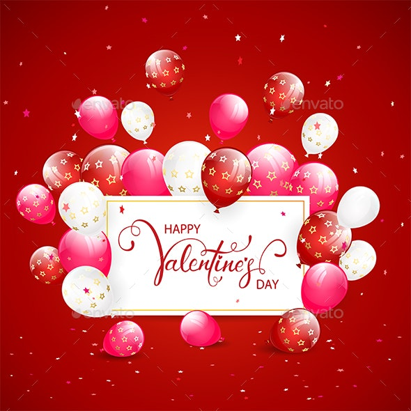 Text Happy Valentines Day with Balloons and Confetti on Red Holiday Background - Valentines Seasons/Holidays
