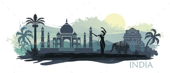 Stylized Landscape of India with the Taj Mahal - Buildings Objects