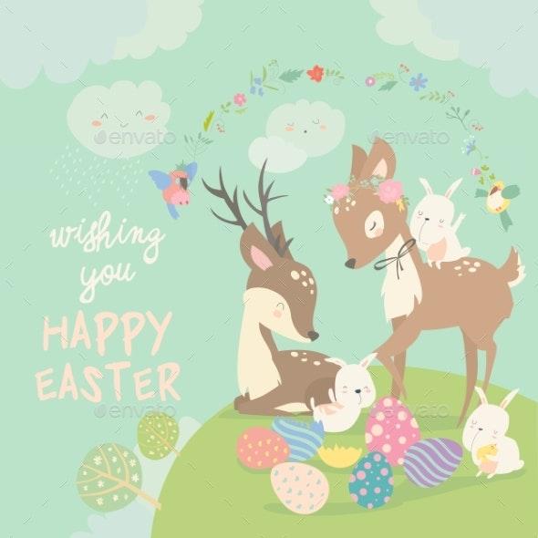 Cartoon Deer with Bunnies - Miscellaneous Seasons/Holidays