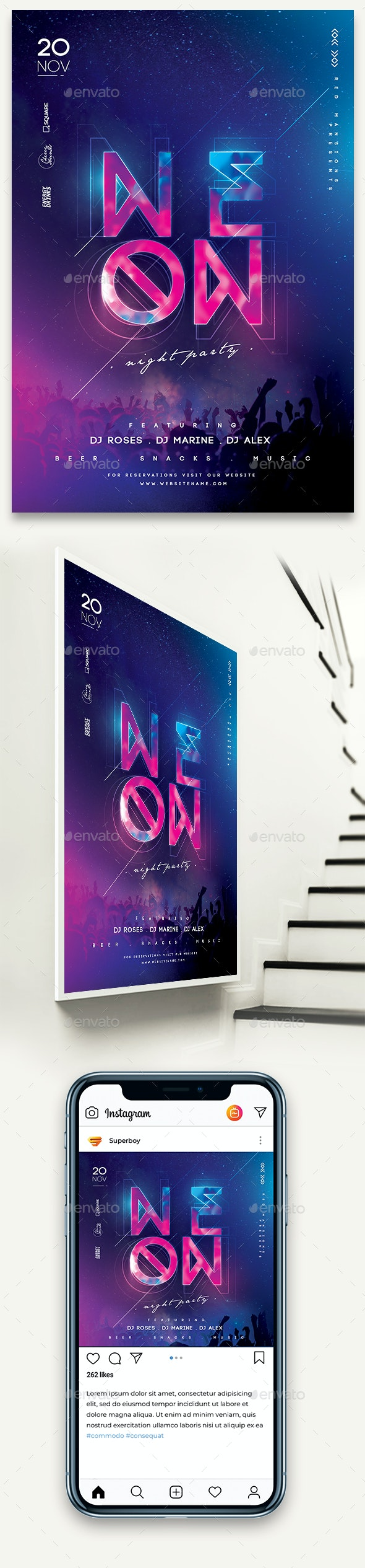 Neon Night Party Poster - Clubs & Parties Events